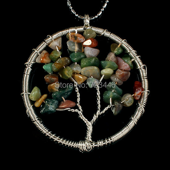 India Agate Natural Stone Gravel Beads Round Tree Of Life Winding Reiki Pendant Charms Health Amulet Numen Classic Jewelry 10pcs