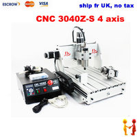 SHIP FR UK, NO TAX!! CNC 3040 Z+S 4 axis cnc router engraver engraving machine For PCB/Wood/stone/metal with 800W spindle