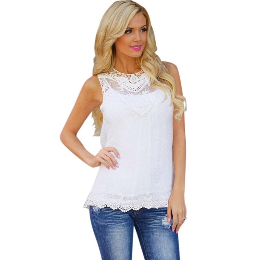 Jecksion curva blusa de renda feminino blusa de algodão mulheres Lace blusa sem mangas Casual Tops para menina(China (Mainland))
