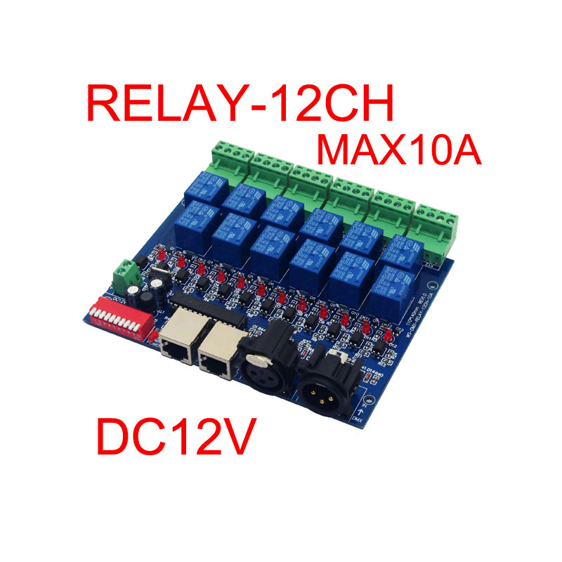 12CH Relay switch dmx512 Controller RJ45 XLR, relay output, DMX512 relay control,12 way relay switch(max 10A) for led(China (Mainland))