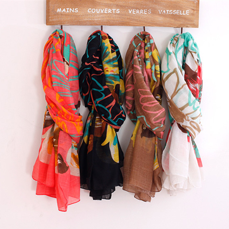 2015 Women Cotton Scarf 180*100cm Ladies Muffer Lady Scarves Fashion Flower Wrap WS094(China (Mainland))