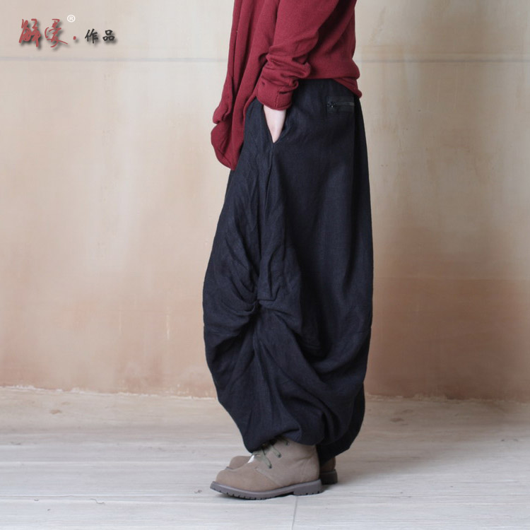 Cool Summer Women Pants Capris Wide Leg Loose Linen Dress Pants Female