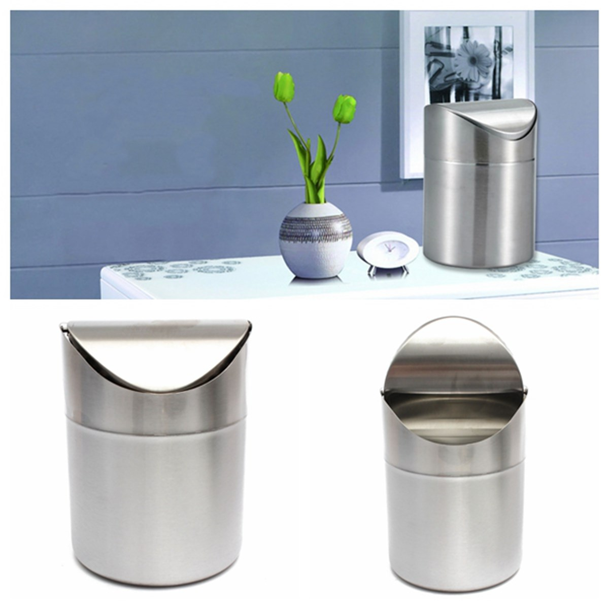 1 5l Home Small Recycling Bin Swing Lid Kitchen Table Tidy Stainless Steel Dustbin Trash Can