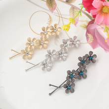Metal Plum Flower Hair Accessories Hairpins Crystal Rhinestone Hair Ornaments Wave Hairclips Women Bride Wedding Hairgrips