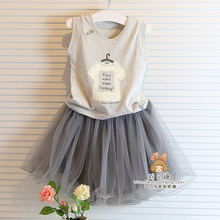 Baby girl clothing sets summer shirt +lace skirt children kids clothes grey color t shirt  with grey skirt girl clothes dress(China (Mainland))
