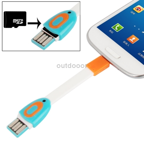 Portable Mini Multi-functional Digital Micro USB Sync Cable with Micro SD (T-Flash) Card Reader(China (Mainland))