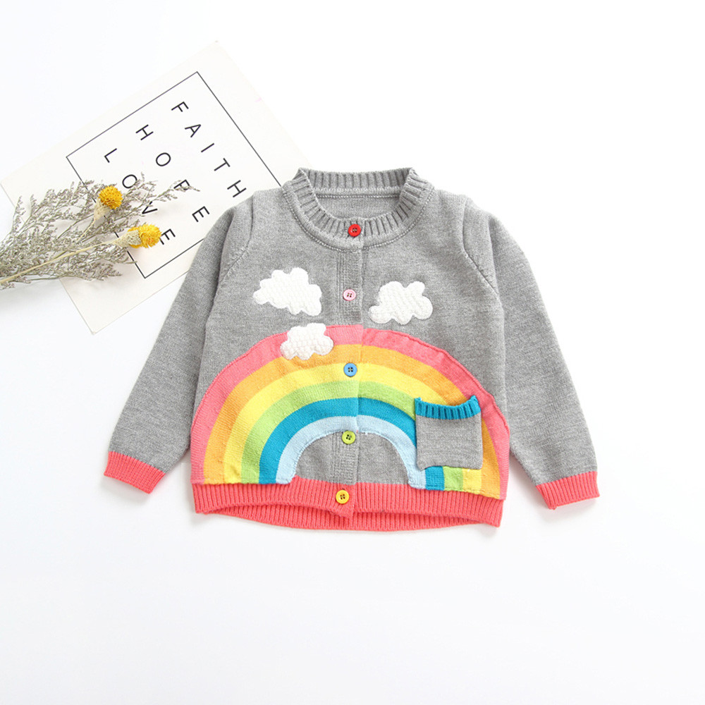 Toddler Infant Baby Boy Girl Botton Warm Knitted Solid Tops Sweater Outfit Coat