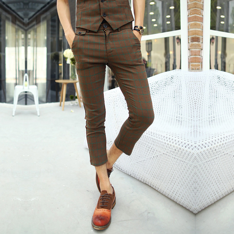 Men's Trendy Hipster Korean Fashion Brown Plaid Plaided Casual Capri Cropped Pants Slim Fit Fitted Skinny Trousers Free Shipping(China (Mainland))