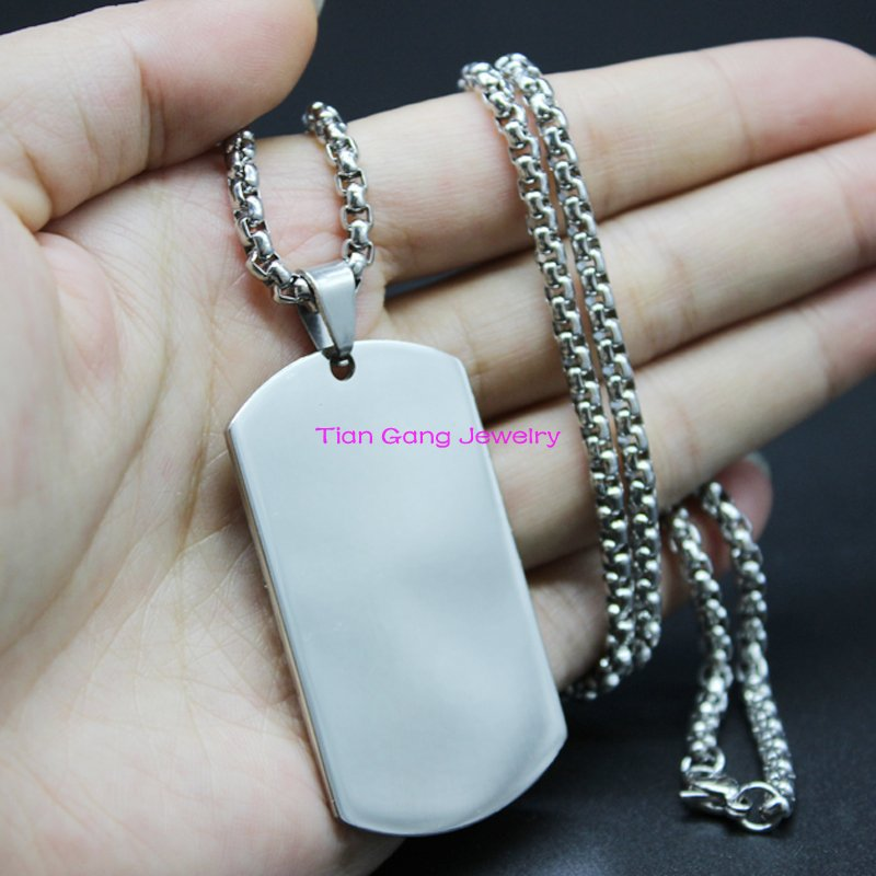 "Silver Tone Mens Dog Tag 316L Stainless Steel Polishing Pedant Free Box Chain 24"" Wholesale & Retail(China (Mainland))"