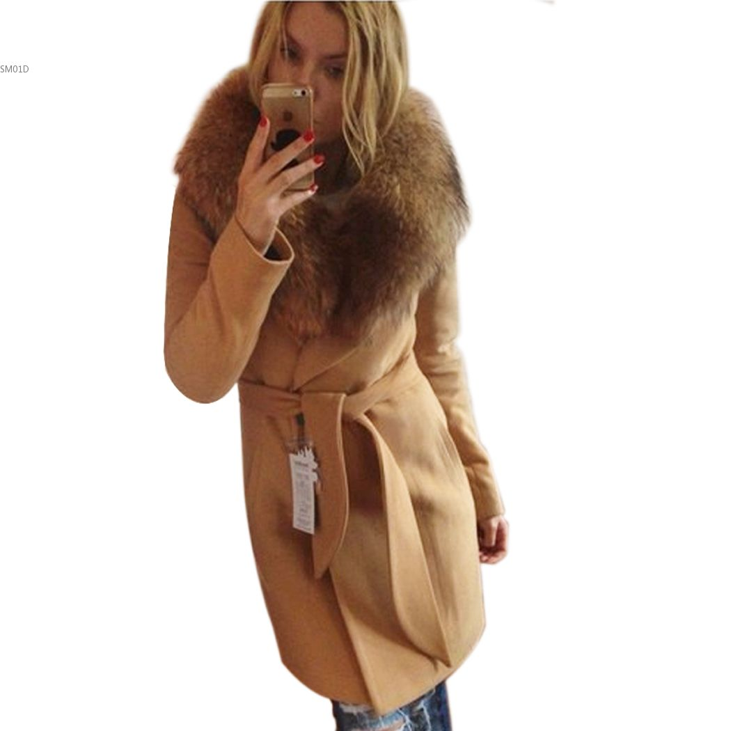 Woman Clothes Autumn Winter Coat S-XX LBig Fur Collar Elegant Long Outwear Bow Belt Sleeve Warm Wool 31