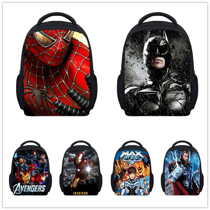 12 Inch Small Kids Cartoon Spider Man Backpack Boys Superman Spiderman School Backpacks Bags New Children