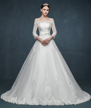 Off shoulder three quarter sleeves lace ball gown floor-length princess boat neck wedding dress 2016 court train wedding dresses(China (Mainland))