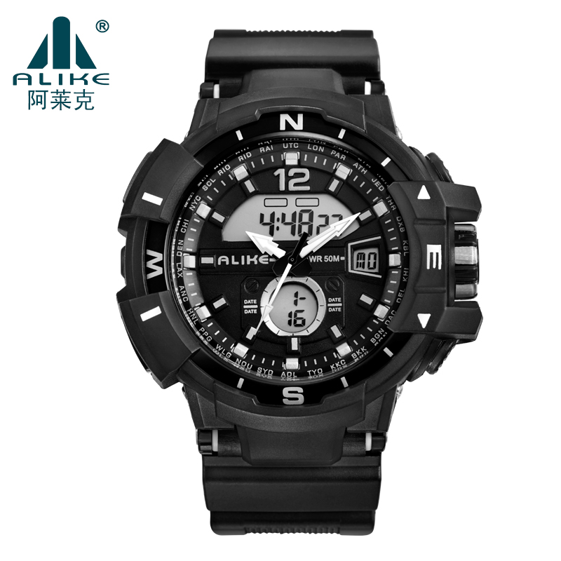 2016 ALIKE S Shock Military Army Quartz Digital Quartz-Watch Men Dual Time Man Sports Watches Men Reloj Hombre LED Wristwatches(China (Mainland))