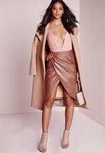 Latest Design 2015 Autumn Winer Saias Femininas High-slit Women's Fashion Skirt Girls High Waist Pencil Skirt Sexy CasuaL PU