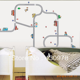 QZ109 Free Shipping 1Pcs DIY Pipe Cartoon Road Cars Creative Beadroom Living Room Decoration Removable PVC Wall Sticker(China (Mainland))
