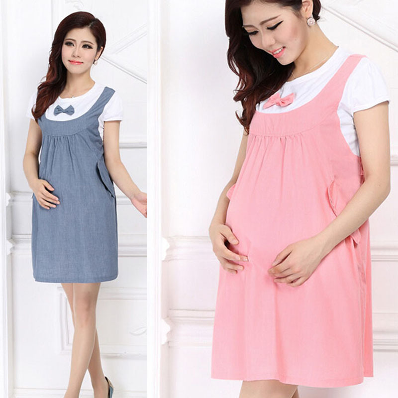 2015 Summer Maternity Dress Bow Clothes For Pregnant Women Pregnancy Clothing Feida(China (Mainland))
