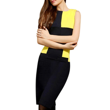 Plus Size XXXL Summer Work Dress 2016 New Patchwork O Neck High Qualtiy Occasion Office Dress Sleeveless Above Knee Pencil Dress(China (Mainland))