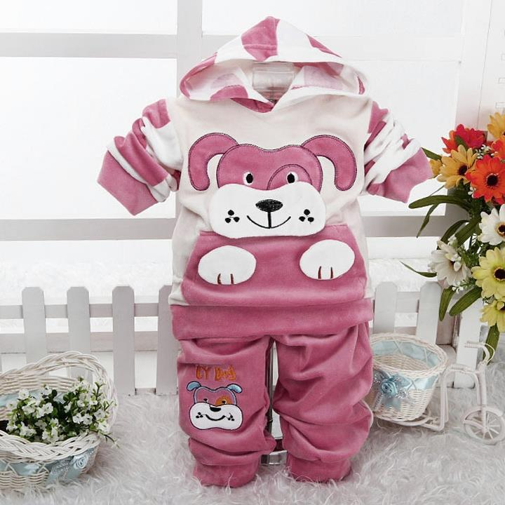 2015 Baby 2pcs suits sets Girl Boy Cartoon Cute  Spot Dog Hoodies Long Sleeve Top + Pants 2pcs Casual Warm Clothing Suit(China (Mainland))