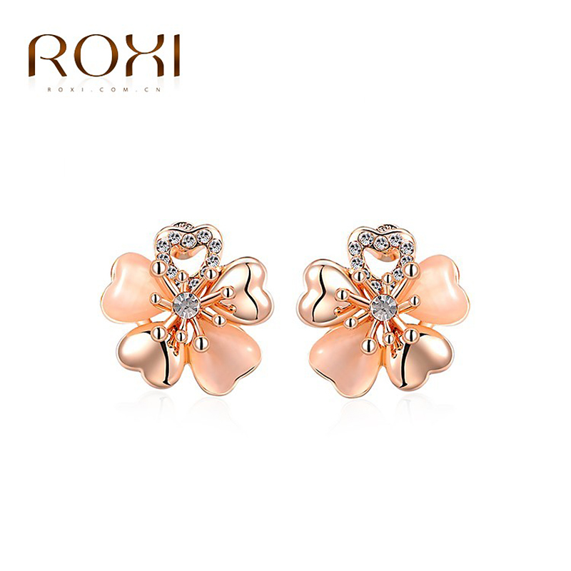 ROXI Christmas Gift New Fashion Jewelry Rose Gold Plated Statement Flowers Stud Earrings For Women Party Wedding Free Shipping<br><br>Aliexpress
