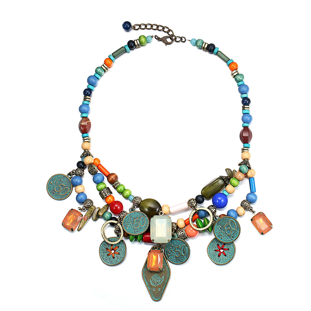 multilayer bead necklace ethnic choker necklaces