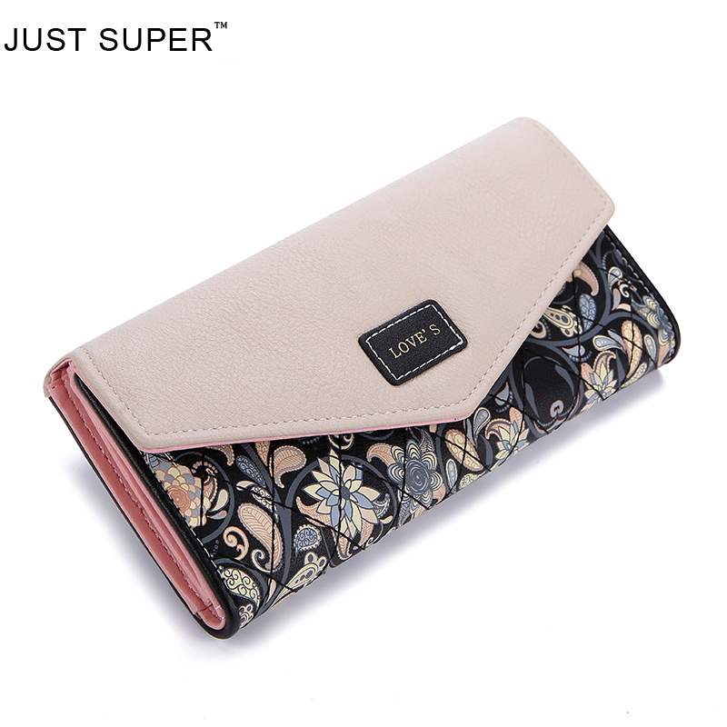 New Fashion PU Leather Envelope Women Wallets 5 Colors Flowers Printing 3Fold Wallet Long Ladies Clutch