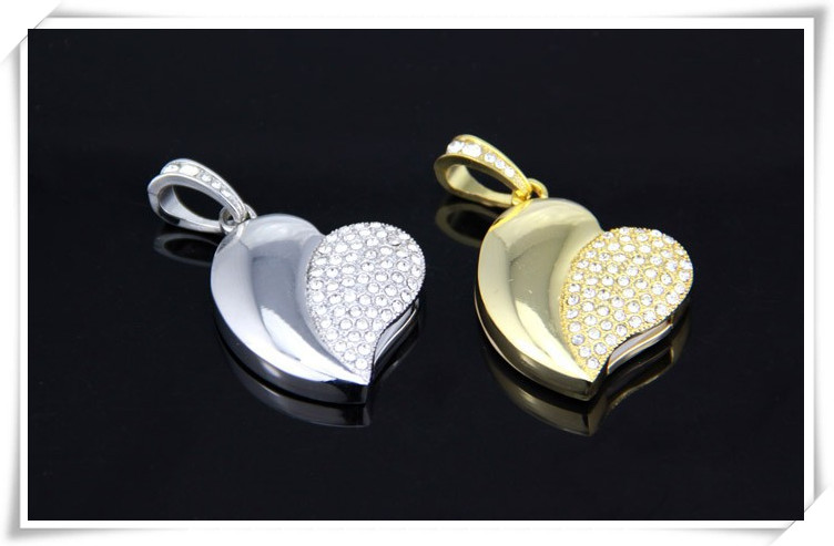 crystal metal heart shaped usb flash drive best gift for her 4gb 8gb 16gb 32gb 64gb memory stick u disk thumb pen drive S21(China (Mainland))