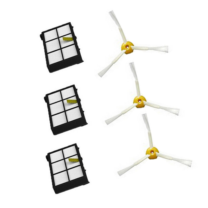 6Pcs Hepa filter 3 Armed Side Brush for iRobot Roomba 800 900 Series 870 880 980 Vacuum Robots Accessory Parts New(China (Mainland))