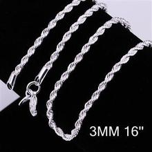 """3MM 16""""-24"""" / free shipping silver 925 necklace,silvers twisted chain necklace,Silver jewelry,wholesale fashion chain necklace(China (Mainland))"""
