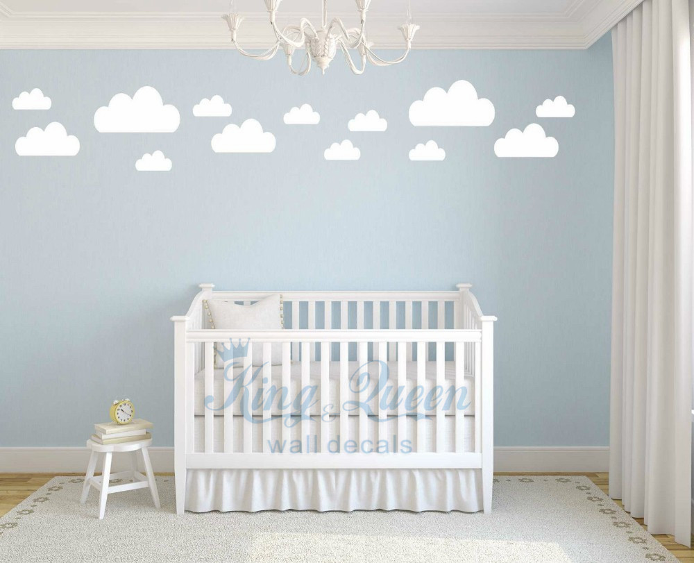 13 wolken decal vinyl muursticker baby nursery kids childrens ...