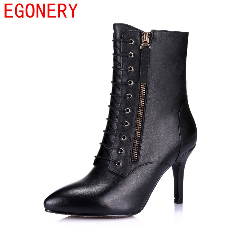 Фотография 2017 new double-sided zipper lady pointed cross straps fine with simple and elegant casual short plush warm boots Martin