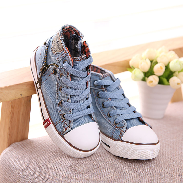 New Children Baby High Help Side Zipper Canvas Shoes Boys And Girls Causal Brand Sport Sneakers Kids Flat Shoes Wholesale 8313(China (Mainland))