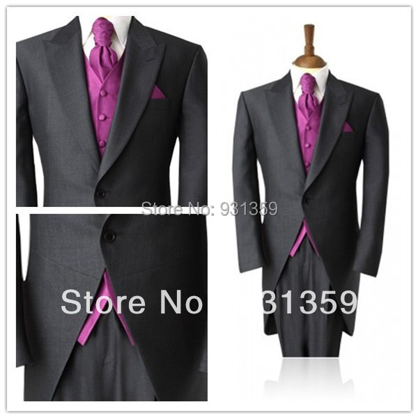 Wedding Suit Long Jacket Mens Suits Design Dark Gray Male Tuxedos (Jacket+Pants+Tie+Vest) TX127 Custom Suits Manufacturers(China (Mainland))
