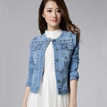 New 2016 Spring Autumn Denim Jacket Coat Fashion Long Sleeve O-Neck Plus Size Ladies Short Jeans Jacket Outerwear