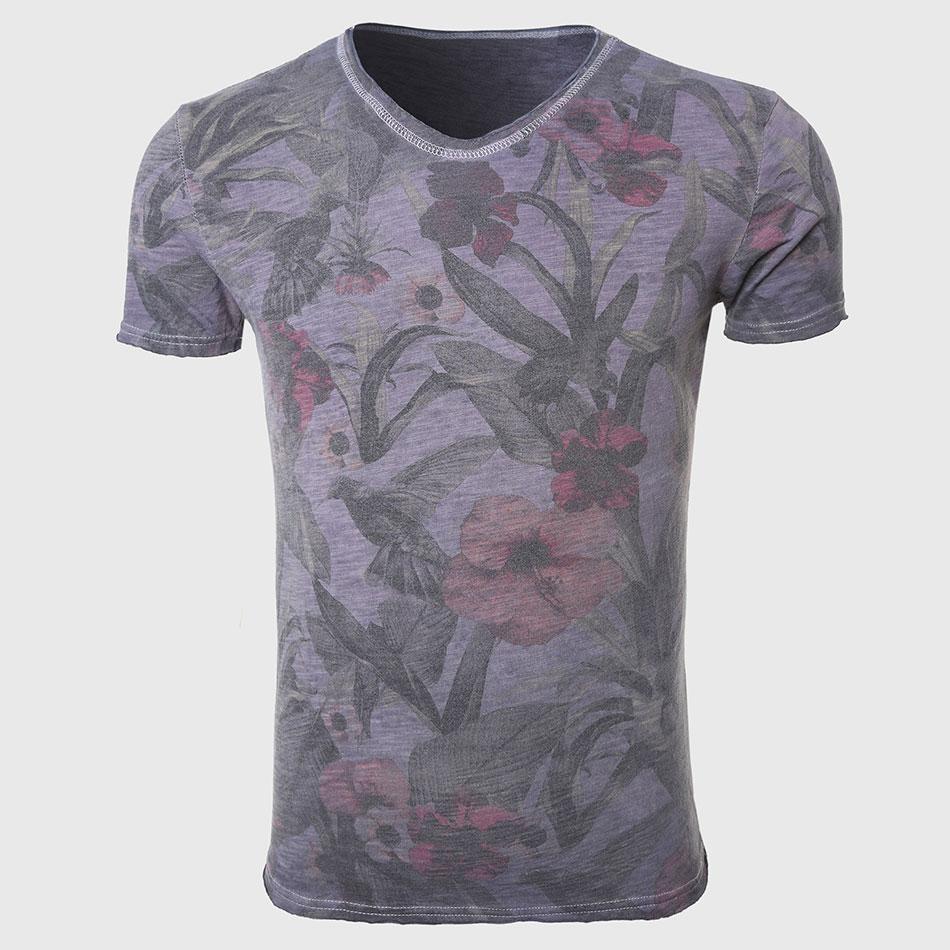 Men Photos Print T Shirts Hawaiian Floral Tee Shirts Male V Neck Tops Stun Unfinished Collar Bird Tropical Stylish(China (Mainland))
