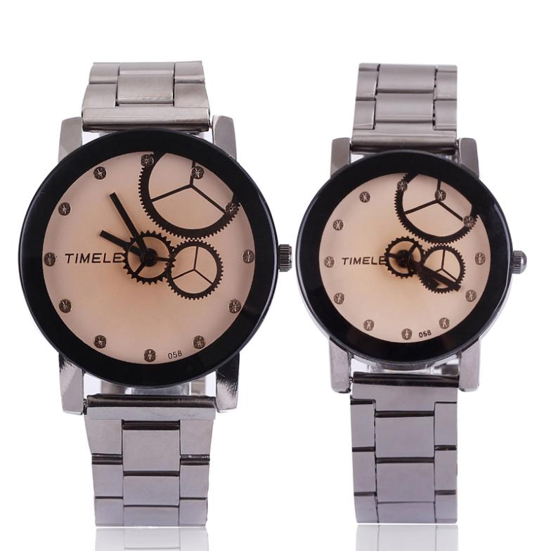 Trend Fashion Male Women's Spermatagonial Lovers Steel Watch Wheel Gear Analog Design Unique Quartz High Quality Free Shipping(China (Mainland))