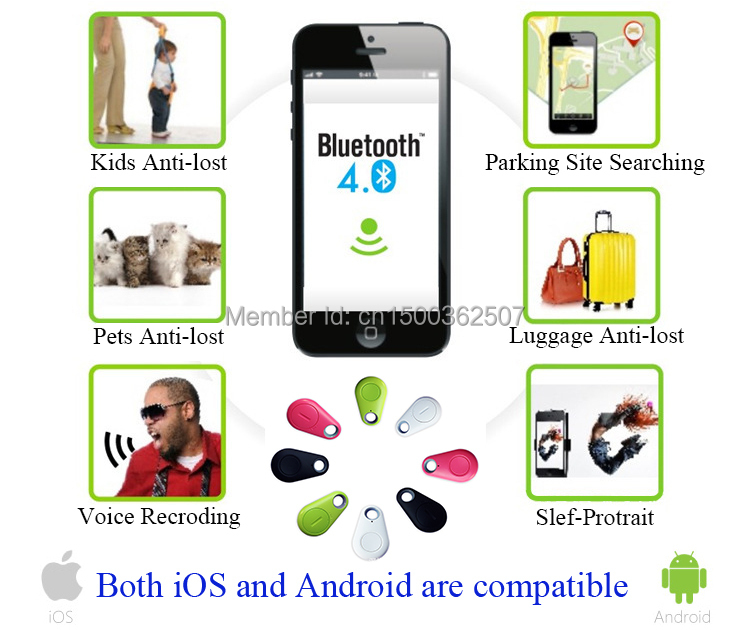 Bluetooth Anti-Lost Object Key Baby Finder Anti-theft Alarm BT4.0 BLE Smart APP for iPhone iPad Android Phone built-in GPS map(China (Mainland))