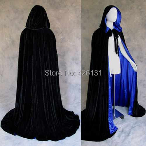 Royal Wedding Gothic Black Velvet blue satin lining Cloak Cape Wicca Party clothing SCA Halloween play capes Cosplay S-XXL(China (Mainland))