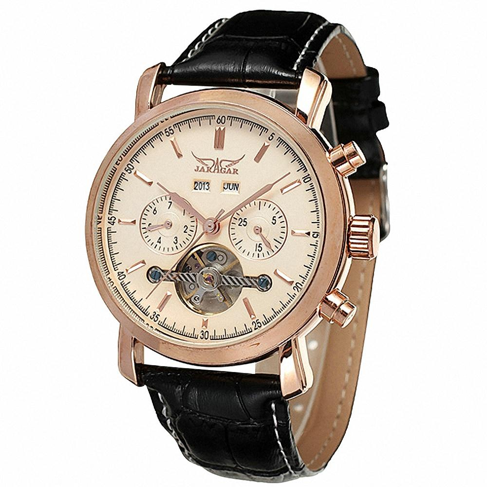 JARAGAR Men Retro Automatic Mechanical Wrist Watch Genuine Leather Band Tourbillion 3 Sub Dial Rose Golden Watch + BOX 2 5 10x40 hunting riflescopes red green dot laser rifle scopes tactical optics sight scope reflex 3 moa weapon guns scope