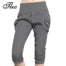 TLZC Best Selling Women Casual Harem Pants Large Size L-5XL 2016 Classic Black White Striped Design Lady Fashion Chiffon Capris(China (Mainland))