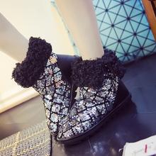 Nuevo 2016 de Las Mujeres Del Brillo Del Invierno Nieve Botas Zapatos de Las Mujeres Antideslizantes Tobillo Caliente Botas de Algodón Zapatos de Mujer Tamaño 35-40 H6754(China (Mainland))