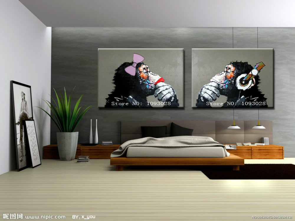 Free Shipping Gorilla Handpainted Modern Decoration Oil Painting Wall Art Paintings Picture