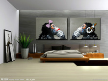 Free shipping gorilla handpainted modern  decoration oil painting wall art paintings picture paiting canvas paints home decor(China (Mainland))