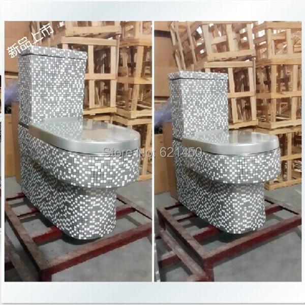 Wholesaler Luxury European-Style Golden Toilet Mosaic Gold Toilet One piece Siphon jet flushing Toilet(China (Mainland))