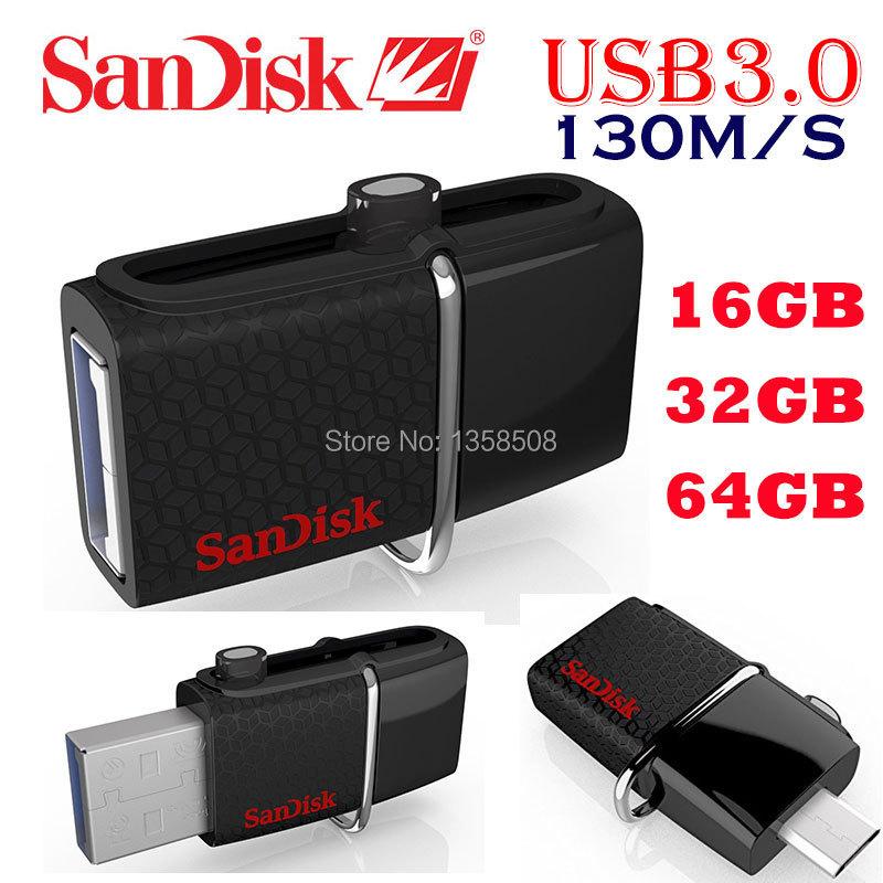 2015 100% Geniune SanDisk Ultra Dual OTG USB 3.0 Flash Drive SDDD2 130M/S 16gb 32gb 64gb support 0fficial Verification(China (Mainland))