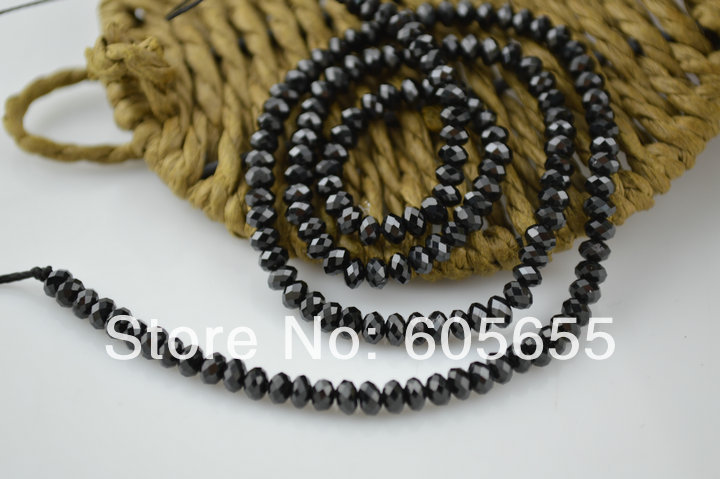 3x5mm Best Quality Faceted Spinel Rondelle Beads Black Crystal Button Stone Beads<br><br>Aliexpress