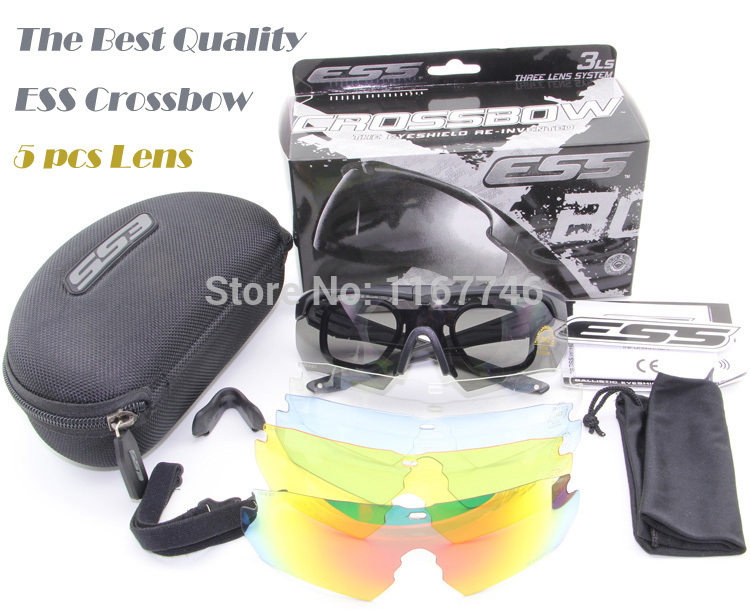 5 Pairs Lens Revo Fire Iridium ESS Crossbow Outdoor Sports Tactical Army Bullet-proof goggles sunglasses eyewear