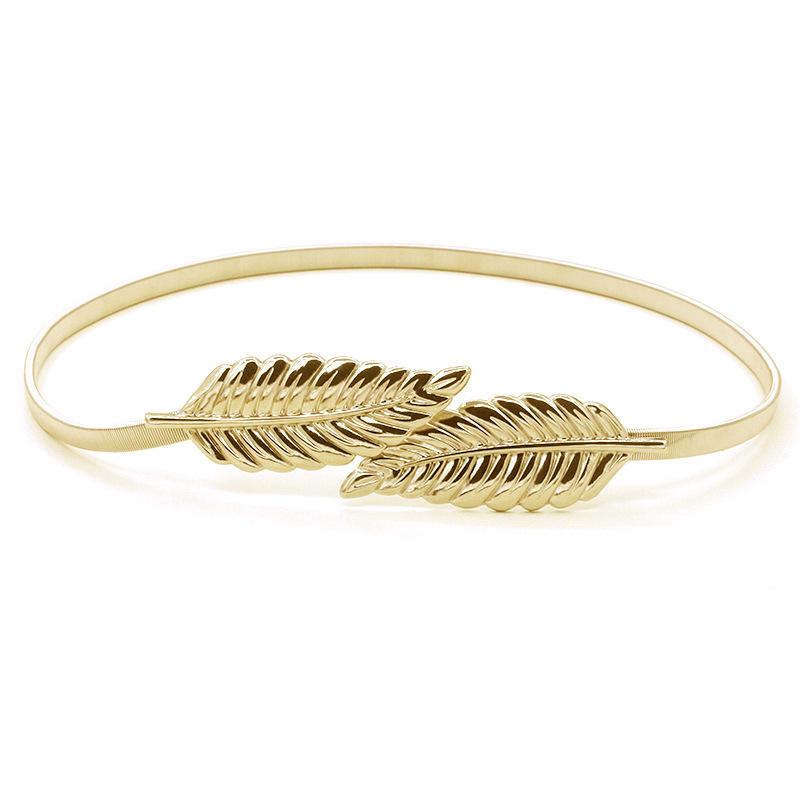 Women Belt Leaf Design Clasp Fasion Metal Waist Belt Skinny Gold Silver Elastic Belt Ceinture Cinturones Mujer(China (Mainland))