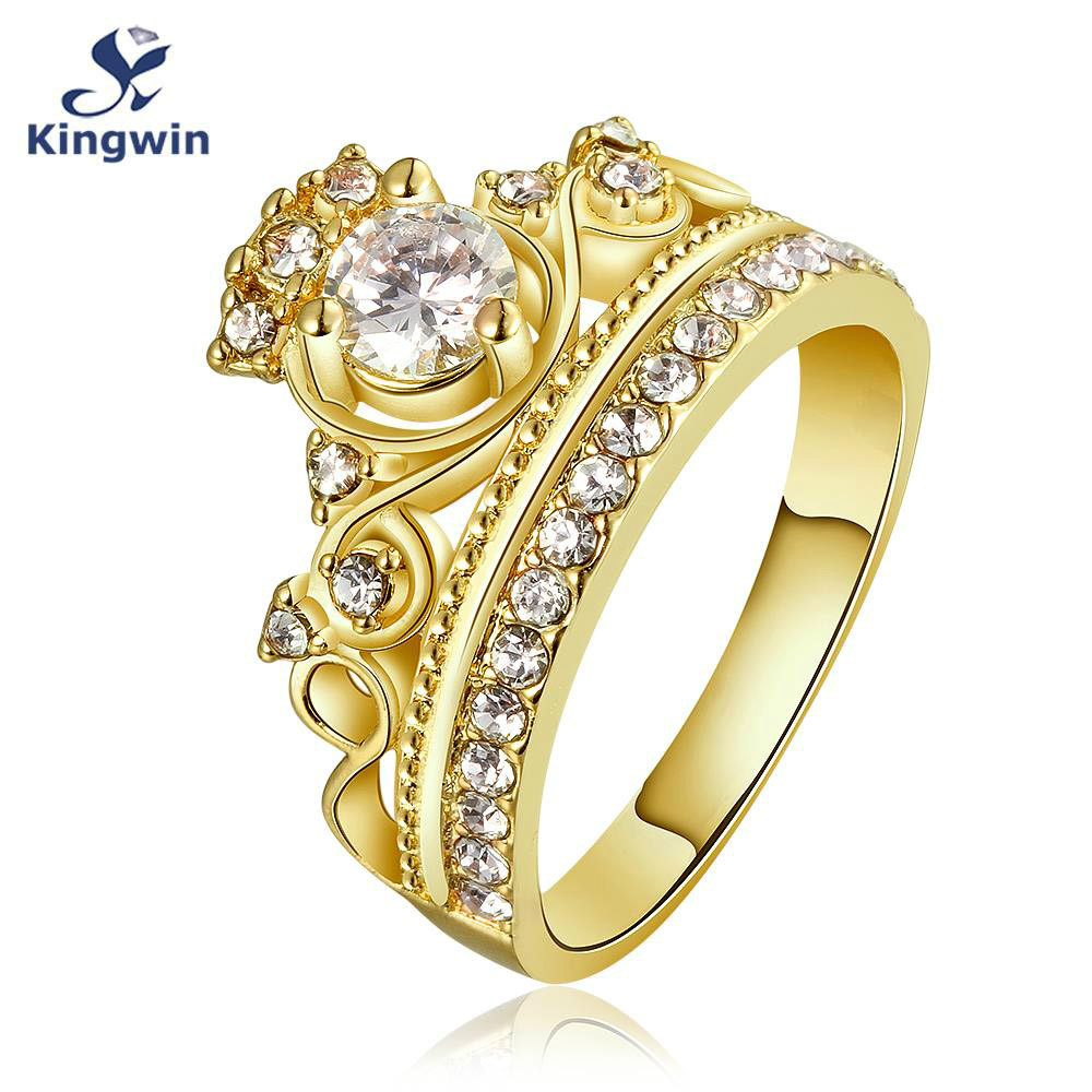 kingwin new design crown ring for 18k real gold