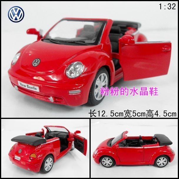 free shipping Volkswagen cabrio beetle soft world sports car red alloy car models toy