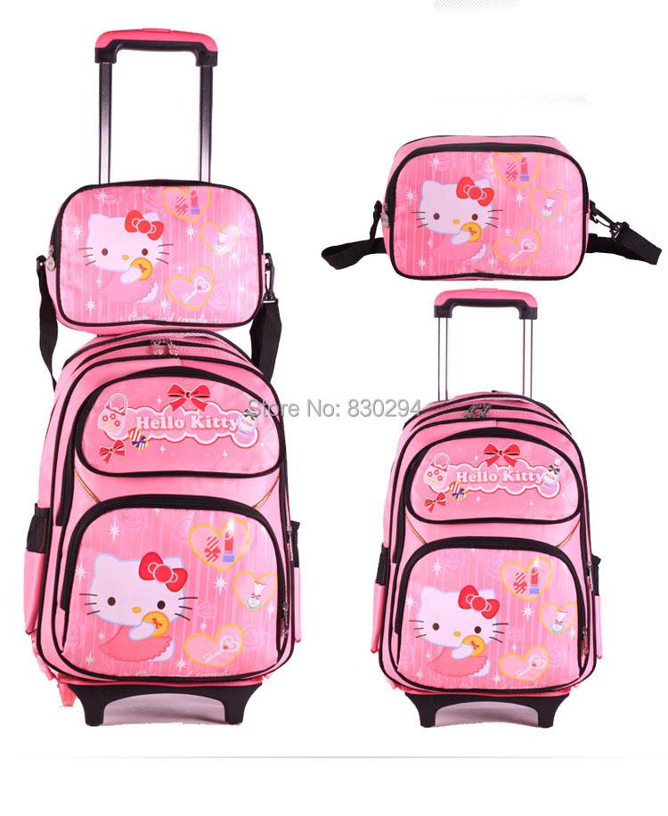 2015 3 1 NEW Hello Kitty Mochilas Kids Cartoon Trolley School Bag SET GIRLs Kid Luggage Travel Wheels freeship - Online Store 830294 store